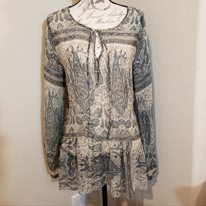 Calypso St. Barth Long Sleeve Silk Blouse Size Med